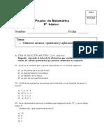 Prueba de  Matematicas 8vo