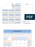 Calendario en Excel Año 2017