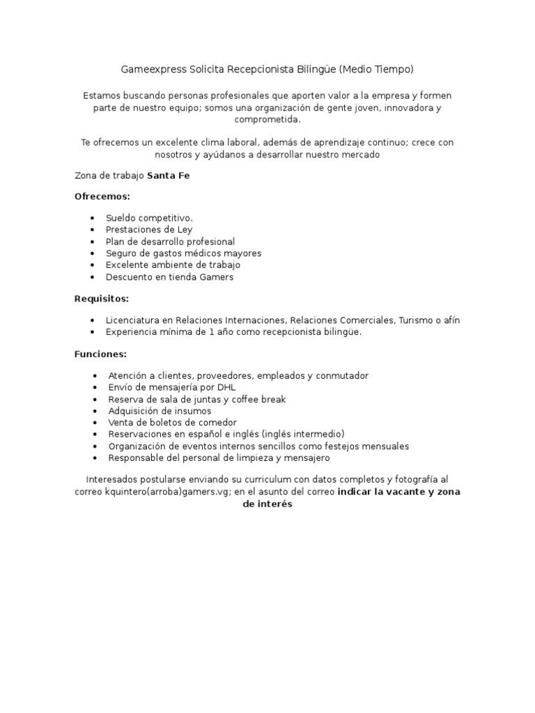 Excelente Muestra De Currículum Para Recepcionista Médica Sin ...