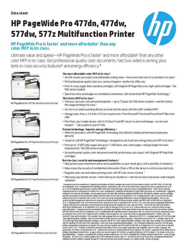 HP PageWide Pro 477-577 Printer Series | Image Scanner | Printer