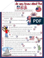 How Much Do You Know About the Usa Quiz WORKSHEET