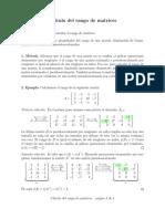 Calculo del rango de la matriz