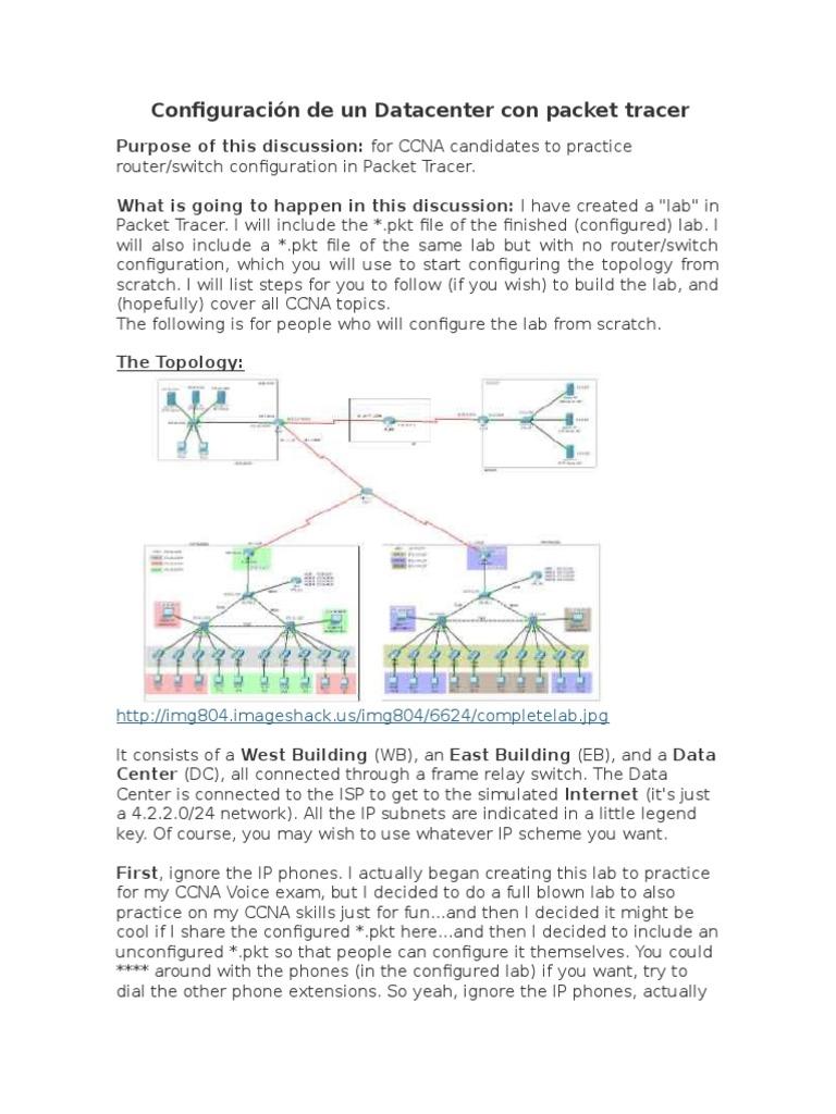 Taller 2. Diseño de Un Datacenter Con Packet Tracer | Ip Address ...