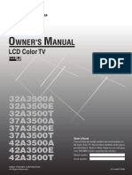 Toshiba Regza 42A3500E Owner's Manual