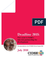 CIDSE Summary Recommendations for MDG10 Summit Final 9 July 2010