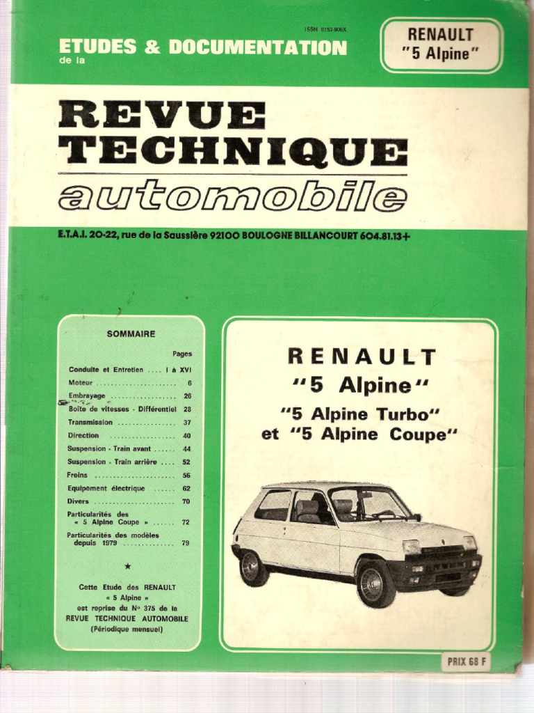 revue technique automobile fr renault 5 alpine alpine. Black Bedroom Furniture Sets. Home Design Ideas