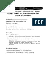 Informe Tecnico de Avance Sobre El Plan Mejora Institucional