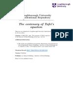 Gabe the Centenary of Tafels Equation