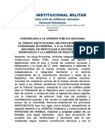 Frente Institucional Militar exhorta a las FANB a restablecer la democracia y libertad