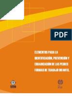 Elementos para la identificación, prevención y erradicación de las peores formas de TI