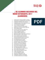 RELACIÓN DE ALUMNOS BECARIOS DEL MENÚ ESTUDIANTIL 2017 (ALMUERZO)