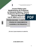 Cuadernillo de Examen de Nombramiento Docente Agosto 2015