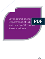 Level Definitions for the Department of Education and Science VEC Adult Literacy Returns