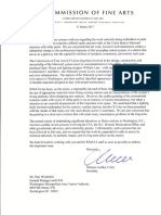 U.S. Commission of Fine Arts (CFA) Letter To Metro GM Paul Wiedefeld
