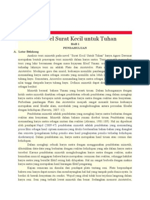Analisis Nilai Moral Dalam Novel Surat Kecil Untuk Tuhan Karya Agnes Davonar Pendekatan Pragmatik Lumbung Pustaka Uny