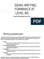Assessing Writing Performance at Level Bq