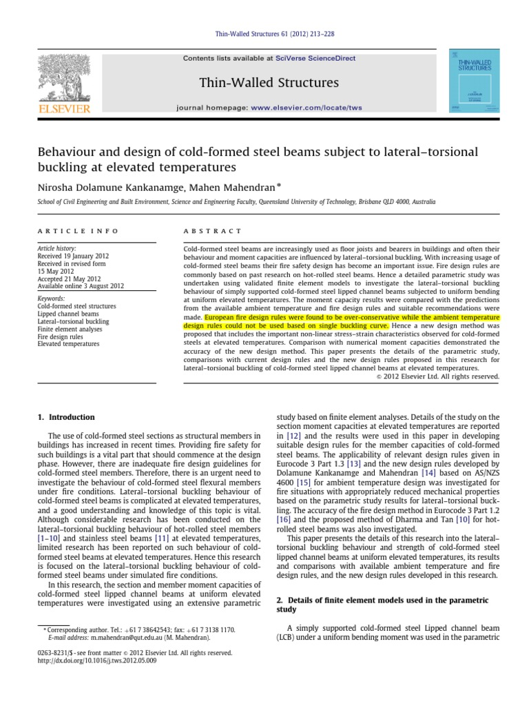 Behaviour and design of cold formed steel beams subject to lateral behaviour and design of cold formed steel beams subject to lateraltorsional buckling at elevated temperature buckling yield engineering sciox Choice Image