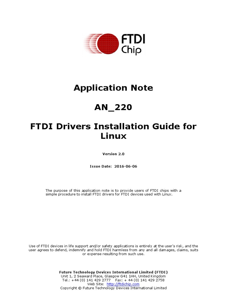 An 220 FTDI Drivers Installation Guide for Linux | Library