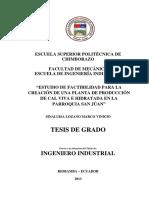 Creacion de Una Planta Cal Viva Ecuador