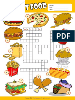 Fast Food Esl Vocabulary Crossword Puzzle Worksheet for Kids