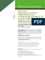 Aplicación de Metodos Bibliométricos a La Evaluación de Colecciones