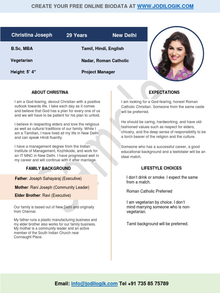 Great Marriage Biodata Format For Christian Girl | Catholic Church | Religion And  Belief
