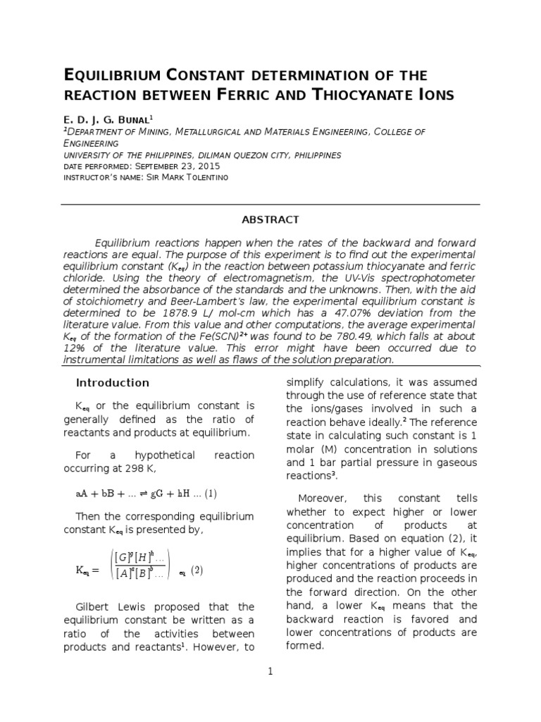 Final)Spectrophotometric Determination of the Equilibrium
