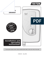 Triton Opal Electric Shower Installation and operating instructions