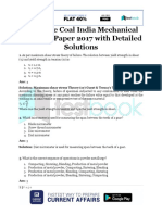 Complete Coal India Mechanical Question Paper 2017 With Detailed Solutions