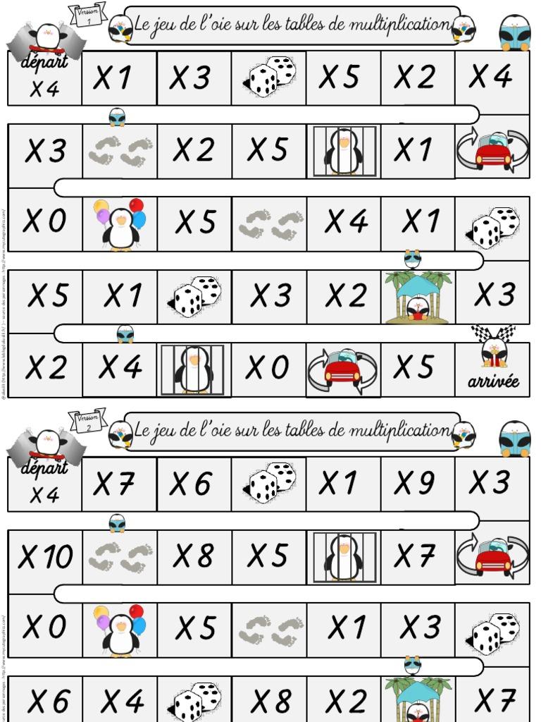 2 Jeux De L Oie Les Tables De Multiplication Aliaslili De Loisirs