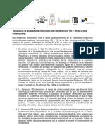 Declaración de Las Academias Nacionales Ante Las Sentencias 155 y 156