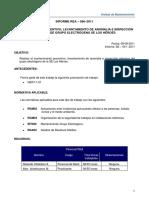 Informe REA 086- 2011 Mantenimiento Preventivo y Levantamiento de Anomalia de GE SE Los Héroes