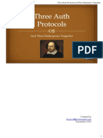 Three Auth Protocols and Three Shakespeare Tragedies