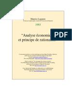 Analyse Econo Principe Ratio MICRO ECONOMIE