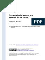Ahumada, Matias (2014). Ontologia Del Pobre y El Sentido de La Tierra