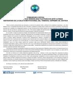 COMUNICADO OFICIAL ORGANIZACIÓN JUSTICIA VENEZOLANA FIJA POSICION ANTE ULTIMAS SENTENCIAS DE LA SALA CONSTITUCIONAL DEL TRIBUNAL SUPREMO DE JUSTICIA