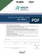 Prova Unicid Medicina 2017 1