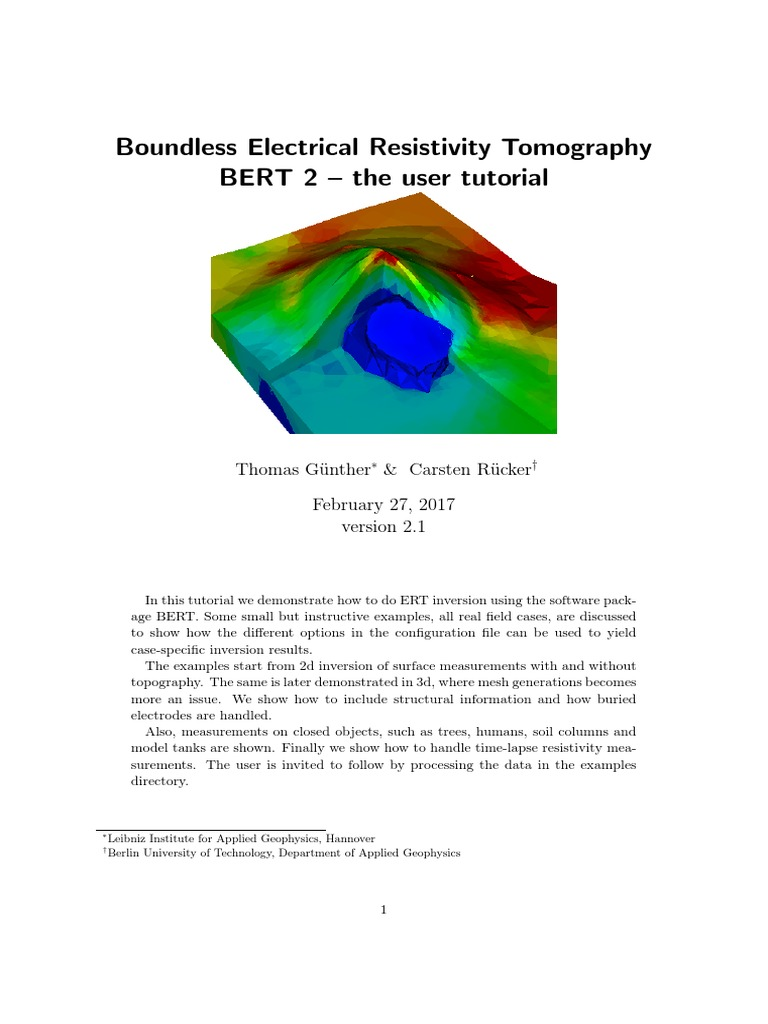 Bert Tutorial | Electrical Resistivity And Conductivity | Errors And