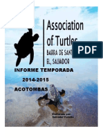Informe Final Manejo de Tortugas MARINAS en Barra de Santiago, 2014-2015,EL SALVADOR
