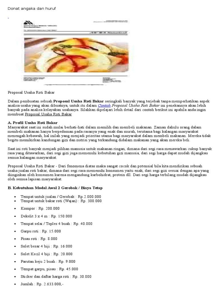 Contoh Proposal Usaha Roti Bakar Shoe Susu