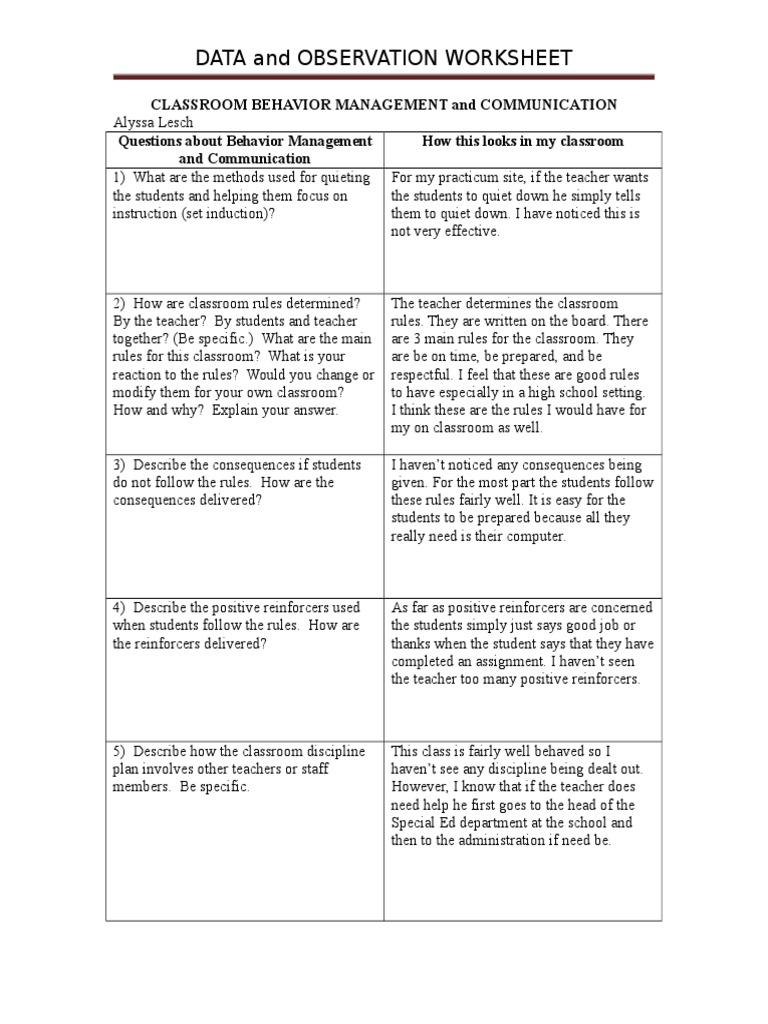 Classroom Behavior Management And Communication Reinforcement