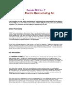 Senate Bill No. 7_texas Electric Restructuring Act 1999