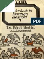Historia de la literatura española 1. La edad media - Alan D. Deyermond