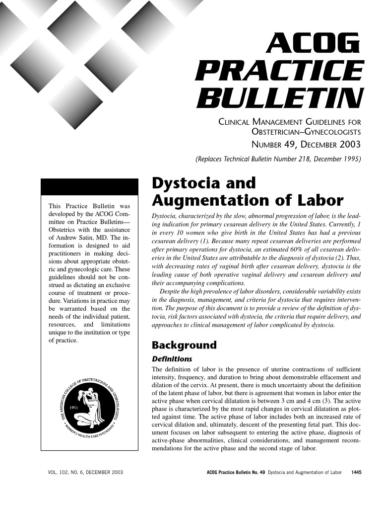 Dystocia and Augmentation of LAbor.pdf | Caesarean Section ...