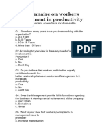 Questionnaire on Workers Involvement in Productivity