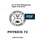 Physics 72 Sample Exam