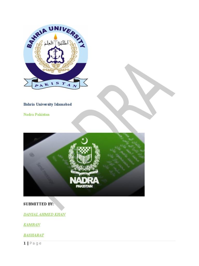 Report (NADRA) docx | Identity Document | Government