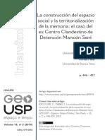 Memoria y Territorialidad Recuperación Del Ex Centro Clandestino de Detención