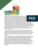 Narrative Report of Badminton