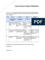 interdisciplinary- science project progress rubric